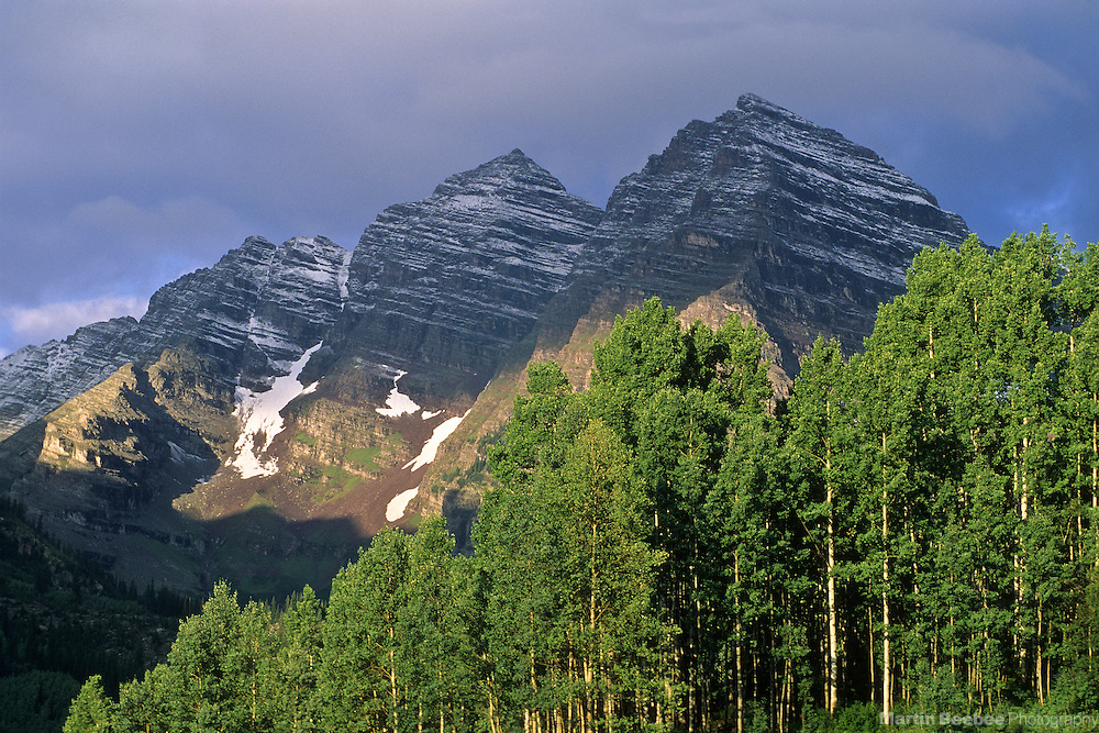 Morning light on Maroon Bells, Maroon Bells-Snowmass Wilderness, White River National Forest, Colorado