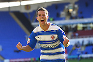 Ian Harte (23) of Reading celebrates scoring their second goal from a free kick during the Npower Championship match between Reading and Barnsley on Saturday 25th September 2010 at the Madejski Stadium, Reading, UK. (Photo by Andrew Tobin/Focus Images)