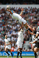 Graham Kitchener of England takes a high lineout during the International Test Match match at Twickenham Stadium, Twickenham<br /> Picture by Andrew Tobin/Focus Images Ltd +44 7710 761829<br /> 01/06/2014
