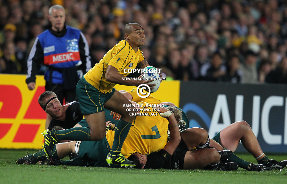 AUCKLAND, NEW ZEALAND - OCTOBER 16, Will Genia during the 2011 IRB Rugby World Cup Semi Final match between New Zealand and Australia at Eden Park on October 16, 2011 in Auckland, New Zealand<br /> Photo by Steve Haag / Gallo Images