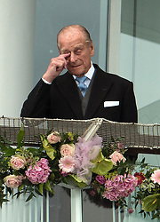© Licensed to London News Pictures. 07/06/2014. Epsom, UK. HRH Prince Philip, The Duke of Edinburgh.  Derby Day today 7th June 2014 at Epsom 2014 Investic Derby Festival in Surrey. Traditionally, elegant, fashionable racegoers gather for a classic day's racing at Epsom Racecourse, Surrey. Photo credit : Stephen Simpson/LNP