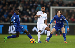Swansea City''s Kle Naughton (centre) during the Premier League match at the Liberty Stadium, Swansea.