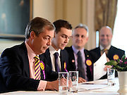 © Licensed to London News Pictures. 26/04/2012. London, UK . (left to right) Nigel Farage, Michael Heaver, Alan Greaves, Pete Reeve. The UK Independence Party (UKIP) local election campaign launch at St Stephen's Club, Central London. Photo credit : Stephen Simpson/LNP