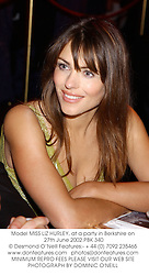 Model MISS LIZ HURLEY, at a party in Berkshire on 27th June 2002.PBK 340