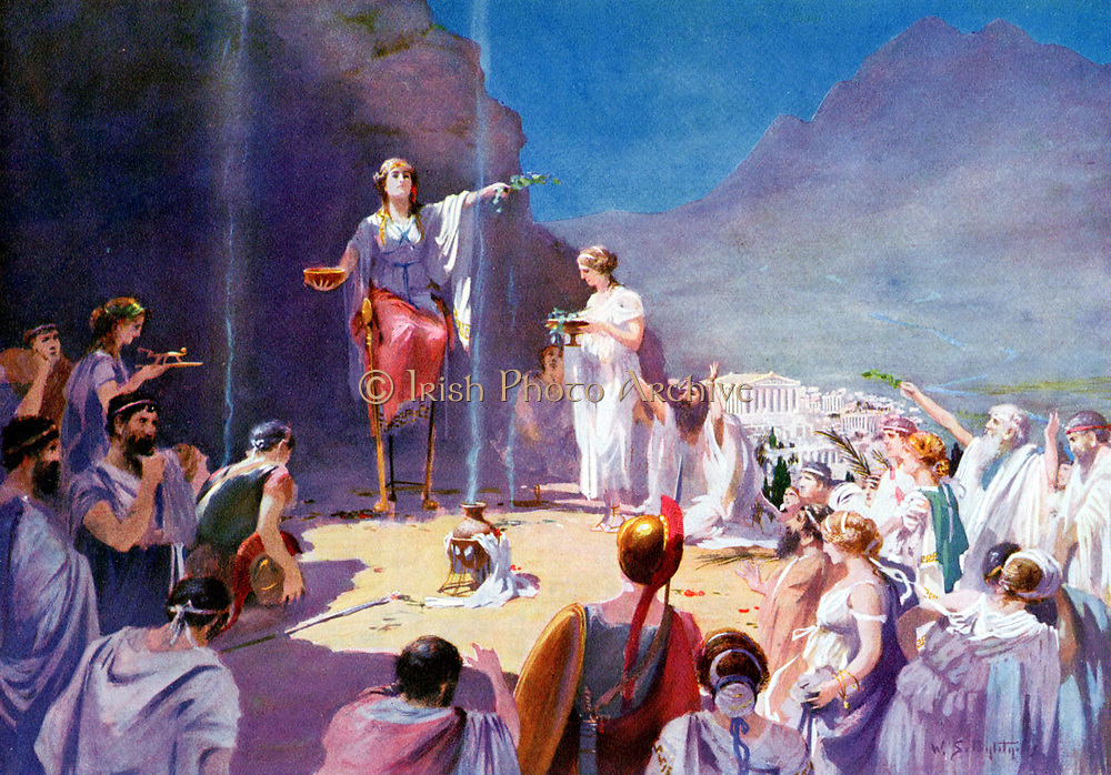 Consulting the Delphic Oracle' After 19th century painting. Priestess of temple of Apollo at Delphi (Delphos now Kastri), known as Pythia, most famous Ancient Greek oracle. Position held by celibate woman over 50 whose words were delivered to supplicant in often ambiguous verse by priests. Suppressed by Theodosius 4th century AD. Greeks considered Delphi at foot of Mount Parnassus to be navel of the world.