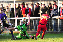 AARON O'CONNOR FIRES IN KETTERING TOWN FIRST GOAL, Kettering Town v Gosport Borough FC, Evo Stik Southern Premier League Latimer Park Saturday 25th November 2017, Score 2-0.<br /> Photo:Mike Capps