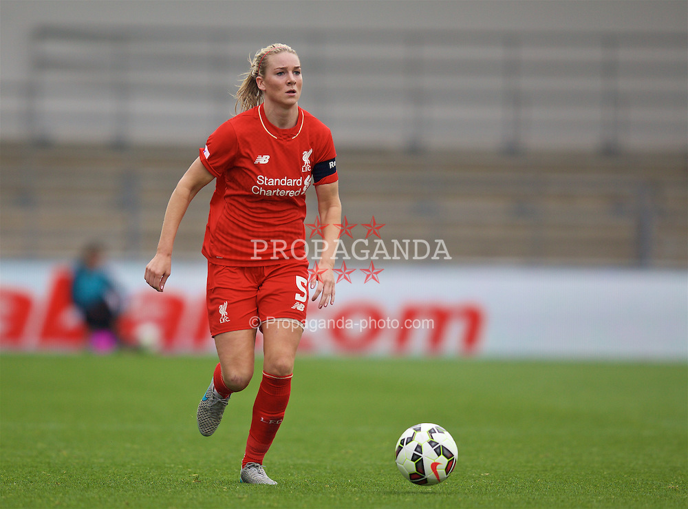MANCHESTER, ENGLAND - Sunday, August 30, 2015: Liverpool's captain Gemma Bonner in action against Manchester City during the League Cup Group 2 match at the Academy Stadium. (Pic by Paul Currie/Propaganda)