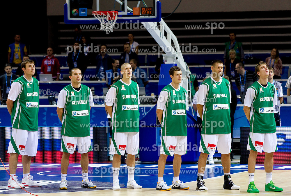 Players of Slovenia Matjaz Smodis, Samo Udrih, Edo Muric, Goran Dragic, Goran Jagodnik and Zoran Dragic  listening to the national anthem during basketball match between National teams of Slovenia and Bulgaria in Group D of Preliminary Round of Eurobasket Lithuania 2011, on August 31, 2011, in Arena Svyturio, Klaipeda, Lithuania.   Slovenia defeated Bulgaria 67 - 59. (Photo by Vid Ponikvar / Sportida)
