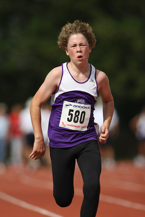 (Toronto, Ontario---2 August 2008)  Alex Kuntz competing in the 100m heats at the 2008 OTFA Supermeet II, the Bantam, Midget, Youth Track and Field Championships. This image is copyright Sean W. Burges, and the photographer can be contacted at www.msievents.com.
