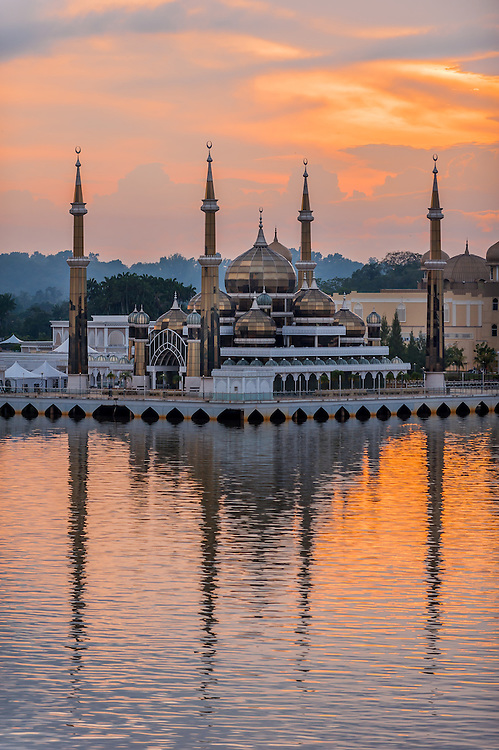 Stock photograph of the Crystal Mosque at sunset in Kuala Terengganu, Malaysia