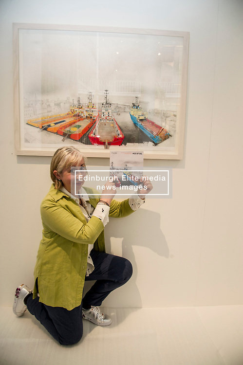 Pictured: Sue Jane Taylor with View from Market Street in the background<br /> Today, the National Museum of Scotland showcased the work of visual artist Sue Jane Taylor, whose Age of Oil exhibit presents engineering in an intricate yet accessible way.  <br />  <br /> Ger Harley   EEm 20 July  2017