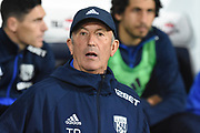 West Bromwich Albion head coach Tony Pulis during the EFL Cup match between West Bromwich Albion and Manchester City at The Hawthorns, West Bromwich, England on 20 September 2017. Photo by Alan Franklin.