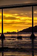 Sunset under Kvalsund bridge | Solnedgang under Kvalsundbrua