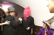 Boy George and Tony James. Wong party. Old  Royal Naval College, Greenwich. 3/2/01. © Copyright Photograph by Dafydd Jones 66 Stockwell Park Rd. London SW9 0DA Tel 020 7733 0108 www.dafjones.com