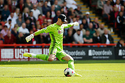 Dean Henderson of Sheffield United takes a goal kick during the Premier League match between Sheffield United and Crystal Palace at Bramall Lane, Sheffield, England on 18 August 2019.