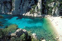Provence, France..sunbathing on the beach at the callanque En Vau, near Cassis...Photo by Owen Franken