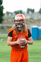 KELOWNA, BC - MAY 10: Kai Sampson looks for the pass during Okanagan Sun Main Training camp at the Apple Bowl on July 12, 2019 in Kelowna, Canada. (Photo by Marissa Baecker/Shoot the Breeze)