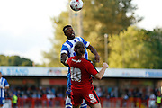 Kasenga LuaLua winning the header during the Pre-Season Friendly match between Crawley Town and Brighton and Hove Albion at the Checkatrade.com Stadium, Crawley, England on 22 July 2015. Photo by Michael Hulf.