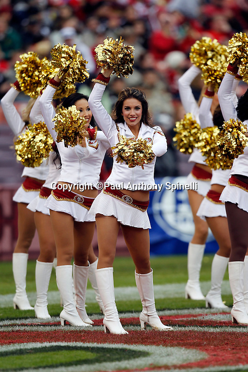 The San Francisco 49ers cheerleaders wave pom poms during a dance routine during the NFL week 17 football game against the Arizona Cardinals on Sunday, January 2, 2011 in San Francisco, California. The 49ers won the game 38-7. (©Paul Anthony Spinelli)