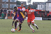 Amari Morgan-Smith and Ian Gayle during the Vanarama National League match between Welling United and Cheltenham Town at Park View Road, Welling, United Kingdom on 5 March 2016. Photo by Antony Thompson.