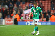 Picture by Paul Chesterton/Focus Images Ltd.  07904 640267.03/03/12.Kyle Naughton of Norwich looks despondent at the end of the Barclays Premier League match at the Britannia Stadium, Stoke-on-Trent.