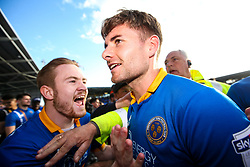 Joe Riley of Shrewsbury Town celebrates winning the playoff semi-final against Charlton Athletic - Mandatory by-line: Robbie Stephenson/JMP - 13/05/2018 - FOOTBALL - Montgomery Waters Meadow - Shrewsbury, England - Shrewsbury Town v Charlton Athletic - Sky Bet League One Play-Off Semi Final