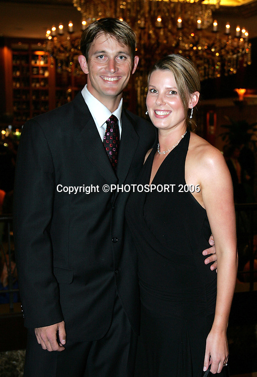 Shane and Tracey Bond arrive at the New Zealand Cricket Awards held at Langham Hotel, Auckland, on Thursday 30 March, 2006. Photo: Andrew Cornaga/PHOTOSPORT