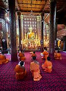 Laos, Luang Prabang. Buddhist monks at Wat Sene.