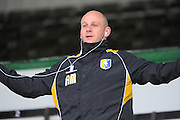 Mansfield Town manager Adam Murray in the main stand before the Sky Bet League 2 match between Plymouth Argyle and Mansfield Town at Home Park, Plymouth, England on 13 February 2016. Photo by Graham Hunt.
