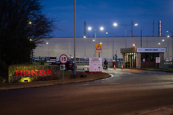 © Licensed to London News Pictures 18/02/2019, Swindon , UK.  The Honda car factory in Swindon. Honda are expected to announce the closing of the factory tomorrow. (Feb 19th 2019). Photo Credit : Stephen Shepherd/LNP