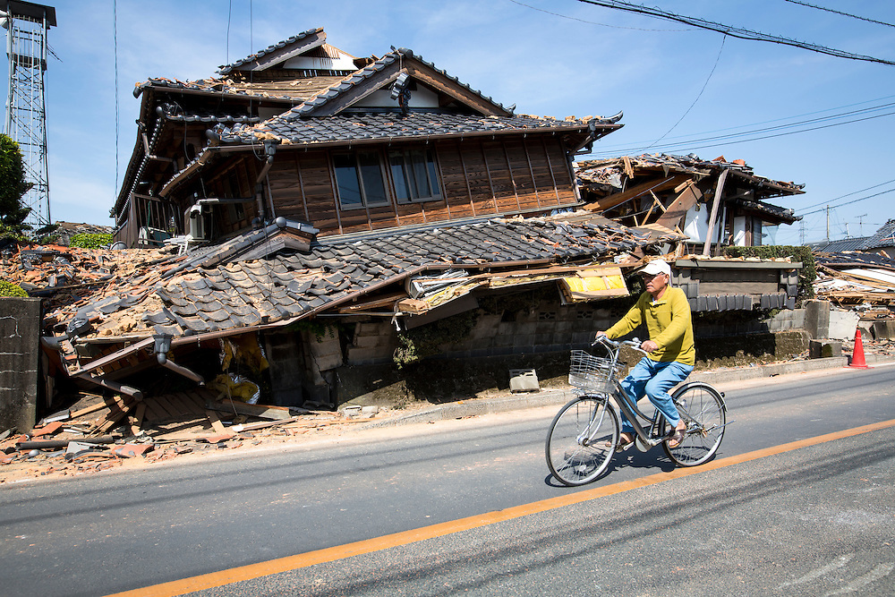 KUMAMOTO, JAPAN - APRIL 20: A collapsed house is seen after an earthquake in the morning on April 20, 2016 in Mashiki town, Kumamoto, Japan. As of April 45 people were confirmed dead after strong earthquakes rocked Kyushu Island of Japan. Nearly 11,000 people are reportedly evacuated after the tremors Thursday night at magnitude 6.5 and early Saturday morning at 7.3.<br /> <br /> Photo: Richard Atrero de Guzman