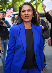 © Licensed to London News Pictures. 29/08/2019. London, UK. Business woman and anti- Brexit campaigner GINA MILLER is seen at Milbank Studio in Westminster. The government has asked the Queen to suspend Parliament in the days after MPs return to work in September - a few weeks before the Brexit deadline of October 31st. Photo credit: Ben Cawthra/LNP