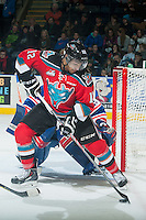 KELOWNA, CANADA - NOVEMBER 29: Tyrell Goulbourne #12 of Kelowna Rockets handles the puck against the Regina Pats on November 29, 2014 at Prospera Place in Kelowna, British Columbia, Canada.  (Photo by Marissa Baecker/Shoot the Breeze)  *** Local Caption *** Tyrell Goulbourne;
