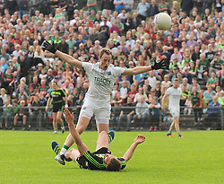 Up Down Aidan O&rsquo;Shea and Fermanagh&rsquo;s full back Che Cullen plead their case at McHale Park on saturday last.<br /> Pic Conor McKeown