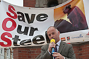 speaking at Corus Save Our Steel March Redcar..© Martin Jenkinson, tel 0114 258 6808 mobile 07831 189363 email martin@pressphotos.co.uk. Copyright Designs & Patents Act 1988, moral rights asserted credit required. No part of this photo to be stored, reproduced, manipulated or transmitted to third parties by any means without prior written permission