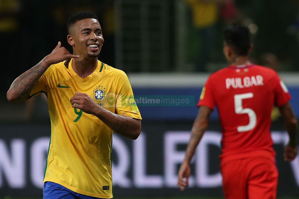 SAO PAULO, Oct. 11, 2017  Brazil's Gabriel Jesus (L) celebrates after scoring during the Russia 2018 FIFA World Cup qualifier match against Chile, at Allianz Parque stadium, in Sao Paulo, Brazil, on Oct. 10, 2017. Brazil won the match 3-0.  ma)  (da) (Credit Image: © [E]Rahel Patrasso/Xinhua via ZUMA Wire)