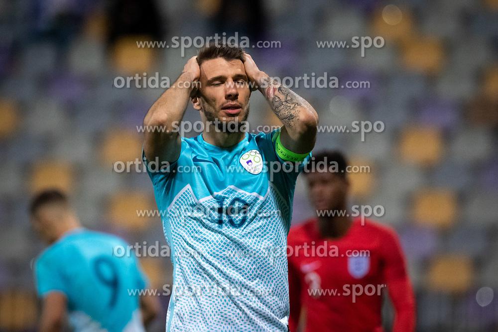 Jan Mlakar of Slovenia reacts after missing the goal during friendly Football match between U21 national teams of Slovenia and England, on October 11, 2019 in Ljudski Vrt, Maribor, Slovenia. Photo by Blaž Weindorfer / Sportida