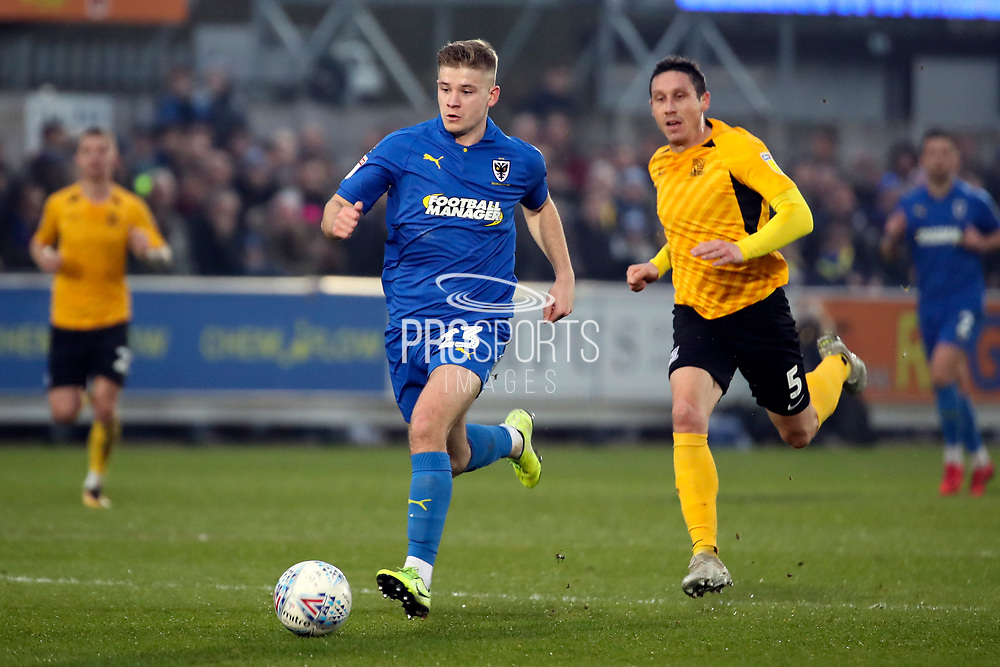 AFC Wimbledon midfielder Max Sanders (23) dribbling during the EFL Sky Bet League 1 match between AFC Wimbledon and Southend United at the Cherry Red Records Stadium, Kingston, England on 1 January 2020.