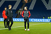 Middlesbrough midfielder George Saville (22) and Middlesbrough midfielder Adam Clayton (8) share a joke during the EFL Sky Bet Championship match between Sheffield Wednesday and Middlesbrough at Hillsborough, Sheffield, England on 19 October 2018.
