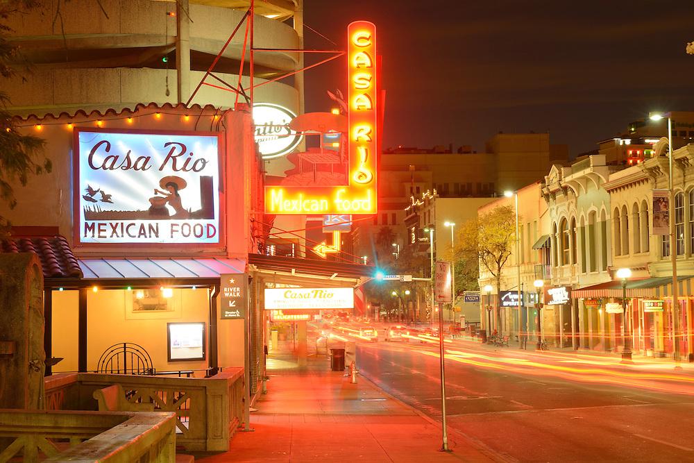 Downtown at night,,San Antonio,Texas,USA