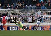 Rab Douglas can't stop Mark Miller's late penalty equaliser - Falkirk v Dundee, IRN BRU Scottish Football League, First Division at the Falkirk Stadium
