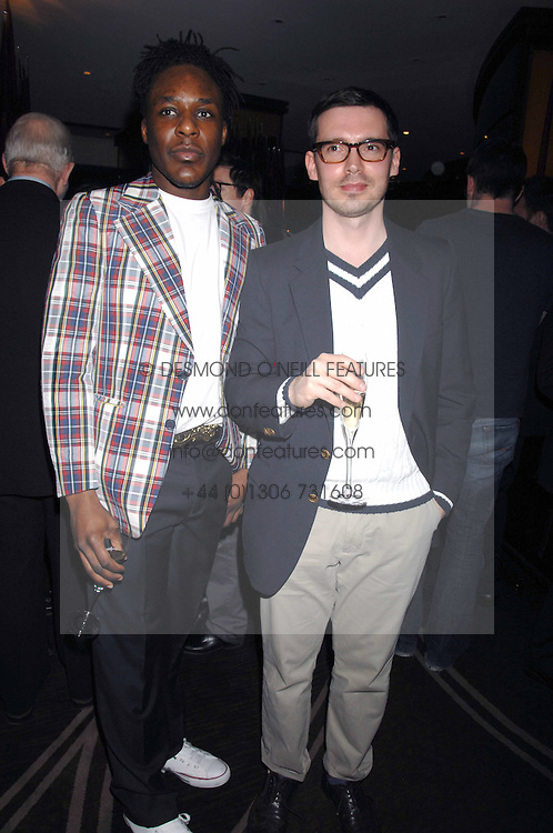 Left to right, designers GAVIN DOUGLAS and ERDEM at the launch of the 4th Fashion Fringe - a search to recruit the hottest, undiscovered fashion desugn talent in the UK and Ireland, held at The Bar at The Dorchester, Park Lane, London on 13th March 2007.<br />