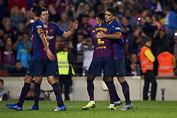 October 20, 2018 - Barcelona, Catalonia, Spain - Luis Suarez celebrates goal with teammates  Sergio Busquets during the week 9 of La Liga match between FC Barcelona and Sevilla FC at Camp Nou Stadium in Barcelona, Spain on October 20, 2018. (Credit Image: © Jose Breton/NurPhoto via ZUMA Press)