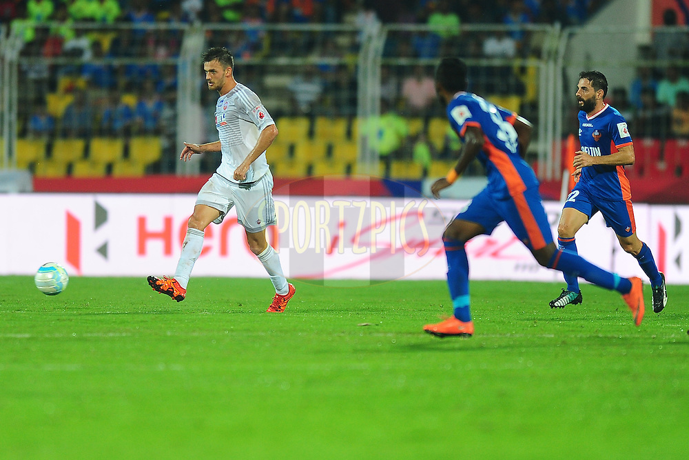 Hero Branding  during match 8 of the Indian Super League (ISL) season 3 between FC Goa and FC Pune City held at the Fatorda Stadium in Goa, India on the 8th October 2016.<br /> <br /> Photo by Faheem Hussain / ISL/ SPORTZPICS