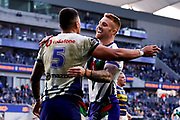 Ken Maumalo celebrates his try with Adam Keighran. Parramatta Eels v Vodafone Warriors. NRL Rugby League. Bankwest Stadium, Sydney, Australia. 27th July 2019. Copyright Photo: David Neilson / www.photosport.nz