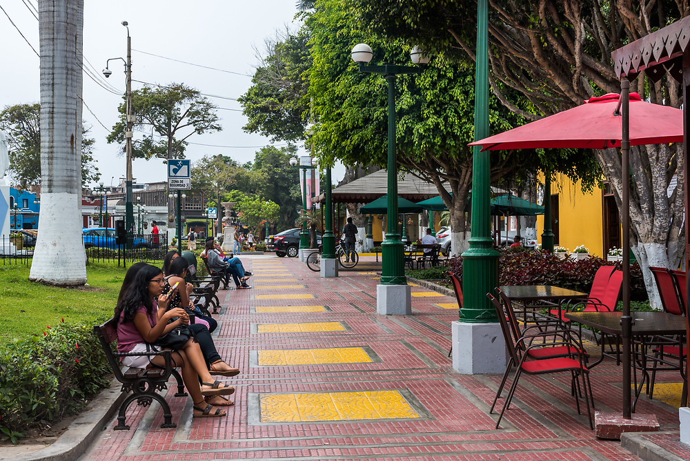 Lima, Peru -- April 13, 2018. Peruvians go about thier business in the bustling  Barranco District. Editorial use only.