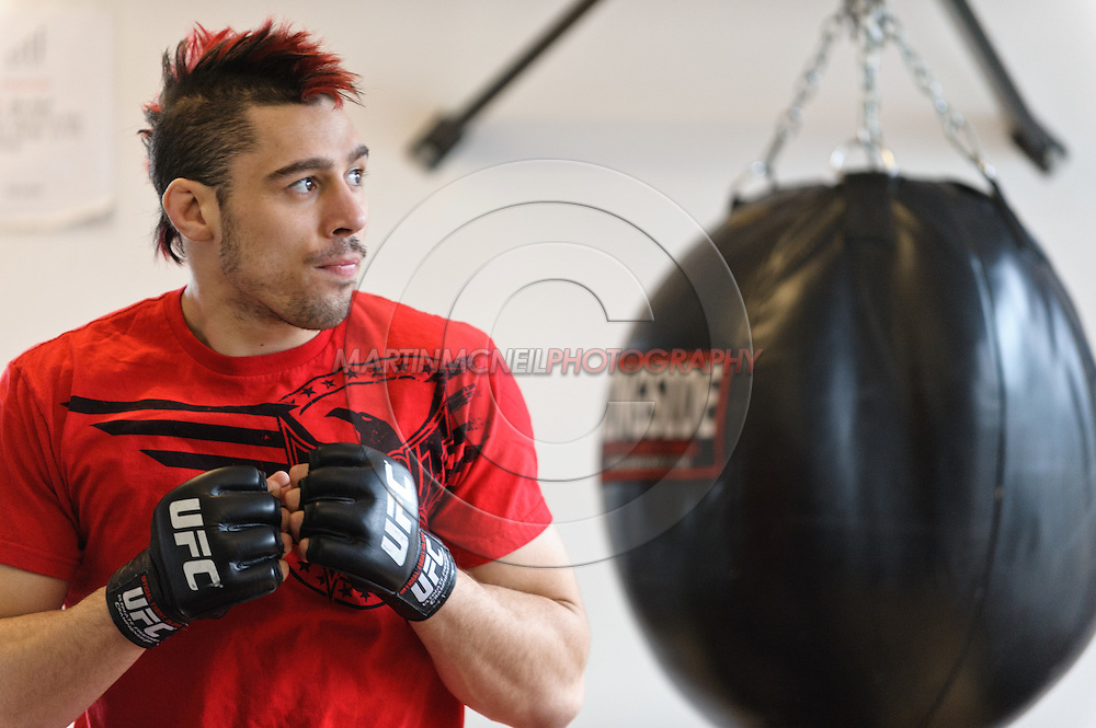 """NEW YORK, NEW YORK, MARCH 25, 2010: Dan Hardy is pictured at media open work-out sessions for """"UFC 111: St. Pierre vs. Hardy"""" at Peak Performance Strength and Conditioning Center in Manhattan on March 25, 2010."""