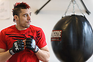 "NEW YORK, NEW YORK, MARCH 25, 2010: Dan Hardy is pictured at media open work-out sessions for ""UFC 111: St. Pierre vs. Hardy"" at Peak Performance Strength and Conditioning Center in Manhattan on March 25, 2010."