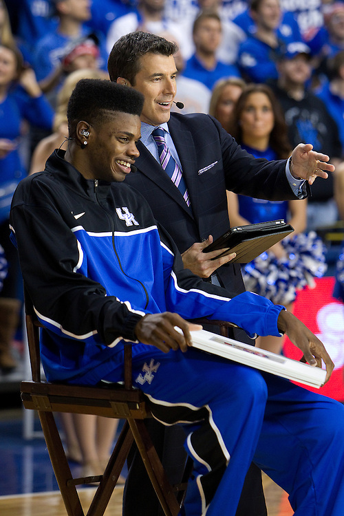 UK forward Nerlens Noel, left, talks with Reece Davis during a segment of the ESPN Gameday broadcast from Rupp Arena before the Missouri vs. Kentucky game, Saturday, Feb. 23, 2013 in Lexington.