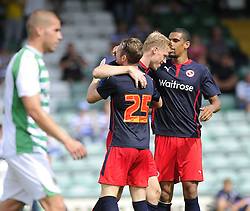 Reading's Pavel Pogrebnyak celebrates his goal with Reading's Jake Taylor  - Photo mandatory by-line: Joe Meredith/JMP - Mobile: 07966 386802 19/07/2014 - SPORT - FOOTBALL - Yeovil - Huish Park - Yeovil Town v Reading
